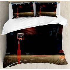 East Urban Home Basketball Duvet Cover Set King Size Comforter Sets, King Size Comforters, Bedding Sets, Home Textile, Duvet Cover Sets, Envelope, House Styles, Bedrooms, Environment