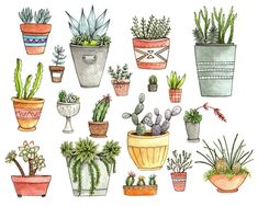 Potted Succulents Art Print. Could be cute for tattoos