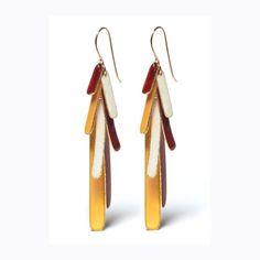 Autumn Leaves Enamel Drop Earrings by shunagoman on Etsy, $115.00