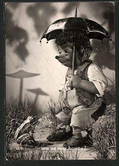 schöne AK Mecki im Regen schaut auf Frosch in Sammeln & Seltenes, Ansichtskarten, Motive | eBay