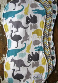Baby Burp Cloths - Set of 3 - Gender Neutral - Down Under in Aussie Animal Friends, Chevron, and Roo Dots. $25.50, via Etsy.