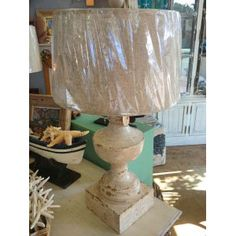 Natural Linen Shaded Lamp in Distressed Cream Finish $449