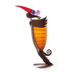 Marabu/Bird Vase: 24-04-52 in Amber, Hand-Blown Art Glass by Borowski Glass Studio