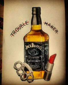 #tattoo #flash #jackdaniels #lipstick #troblemaker Jolon Johnson