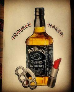 #tattoo #flash #jackdaniels #lipstick #troblemaker Jolon Johnson