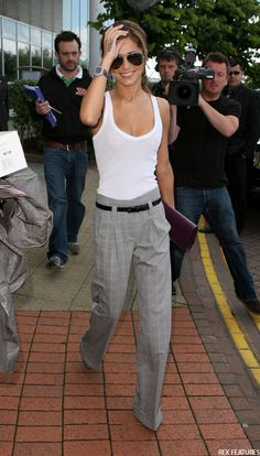 tailored trousers and white vest