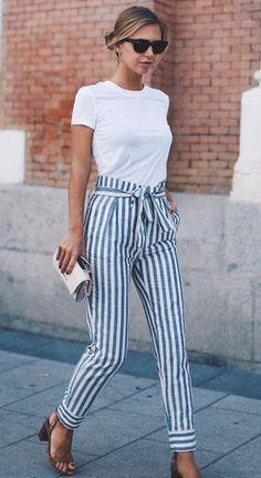 Cute striped trouser pants