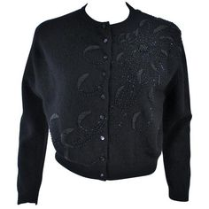 Preowned Schiaparelli Black Wool Starburst Beaded Sweater Size Medium ($495) ❤ liked on Polyvore featuring tops, sweaters, black, cardigans, woolen tops, wool top, beaded tops, flower print top and sleeve top