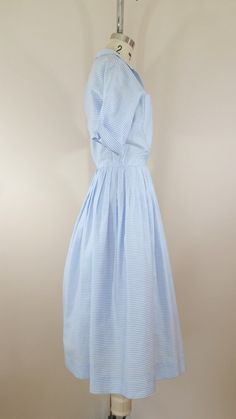 1950s Blue Striped Shirtwaist Dress • Vintage 50s Cotton Dress • Small by ThriftyVintageKitten