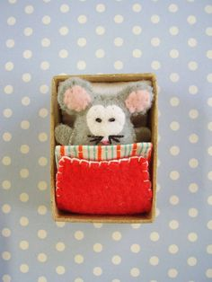 Matchbox Mouse in Bed - Tiny Felt Mouse via Etsy