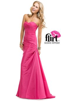 Flirt's slim A-line taffeta gown with sweetheart neckline and asymmetrical draping throughout the bodice and skirt.