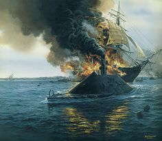 Depiction of CSS VIRGINIA the day before the USS monitor arrived to stave off the Confederate surprise warship.