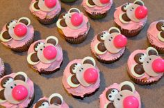 Bobby Jack Monkey Cupcakes. Cheat by using light and dark chocolate melts for the head and ears.