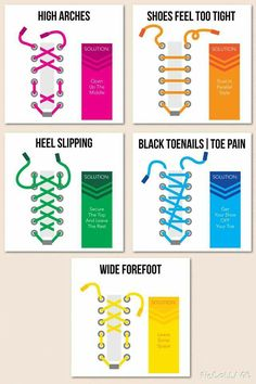 Different shoelace patterns for foot discomfort!