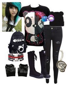 """emo school outfit"" by kaitlyn-mcalister ❤ liked on Polyvore featuring Frame Denim"