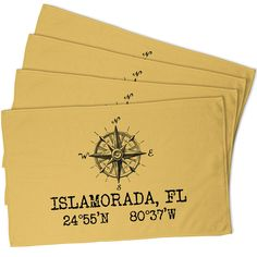 Custom Compass Rose Coordinates Hand Towel - Yellow (Set of 4)