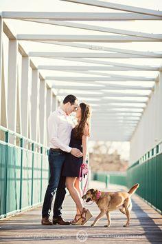 Engagement Portrait with Dog || Downtown Memphis || City Bridge || Photographer || Christen Jones Photography