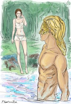 Ah, haven't posted it here yet - - the lake scene from ACOTAR   (by Sarah J.Maas @ sjmaas.tumblr.com/ )