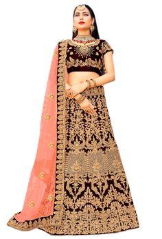 Shop dark maroon velvet wedding lehenga choli , freeshipping all over the world , Item code Bridal Lehenga, Lehenga Choli, Saree, Suits For Women, Clothes For Women, Lehenga Online, Indian Bridal Wear, Indian Dresses, Indian Fashion