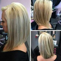 Angled Straight Blonde Hairstyle