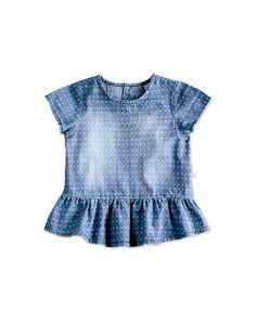 Bata Infantil Menina Em Jeans Maquinetado