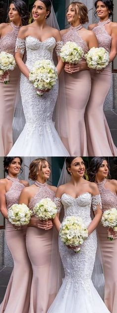 Halter Blush Pink Mermaid Cheap Bridesmaid Dresses Online, – Famous Last Words Cheap Bridesmaid Dresses Online, Mermaid Bridesmaid Dresses, Cheap Homecoming Dresses, Mermaid Dresses, Gold Bridesmaids, Wedding Styles, Blush Pink, Wedding Gowns, Marie