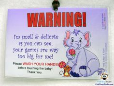 """Wash Your Hands Signs """"Flower Friends"""" Newborn, Infant, Baby Car Seat Sign"""