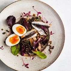 Salad of puy lentils, smoked anchovies and egg