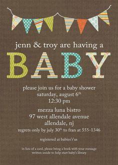 NEUTRAL Baby Shower Invitation baby shower inviteburlap linen