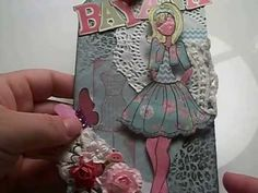 Prima doll stamp reverse style paper pieced project tag....no copics! - YouTube