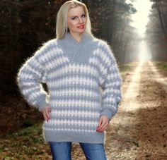 BN Hand Knitted Mohair Sweater Shawl Collar GRAY Fuzzy Soft Jumper by SUPERTANYA