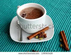 cocoa hot drink with cinnamon - stock photo