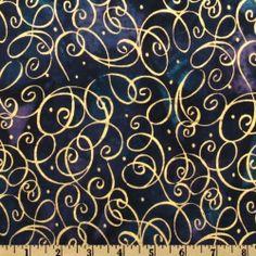 Batik Script Blue/Gold Fabric