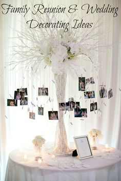 Family Reunion and Family Wedding Decorating Ideas. See how to creatively display photos at your next family gathering. #photography #wedding #family