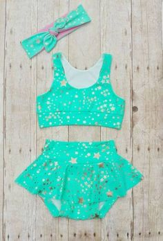 PDF Swimsuit pattern by A Sparkly Baby Patterns. The pattern has options for a… Baby Bikini, Baby Girl Swimsuit, Little Girl Swimsuits, Little Girl Outfits, Little Girls, Kids Outfits, Cheer Outfits, Dance Outfits, Baby Skirt