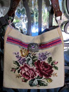Vintage Rose Needlepoint Velvet Chenille Western by LadidaHandbags Vintage Velvet, Vintage Roses, Diy Sac, Diy Tote Bag, Carpet Bag, Tapestry Bag, Handmade Bags, Beautiful Bags, Needlepoint