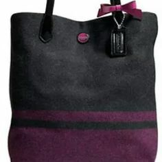Coach wool bag Beautiful purple gray coach....used once..excellent condition...large Coach Bags