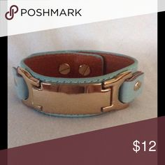 Blue faux leather cuff with gold accent Blue faux leather cuff with gold accent Jewelry Bracelets