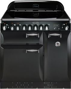 This Rangemaster Elan Gloss Black with Chrome Trim Electric Induction Range Cooker with stylish Gloss Black with Chrome Trim finish looks great in any home. Kitchen Stove, Kitchen Cabinets, Kitchen Appliances, Kitchens, Induction Range Cooker, Electric Range Cookers, Electrical Connection, Kitchen Cabinet Organization, Oven