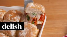 Mini Chicken Parm Sliders | Delish + Ragu