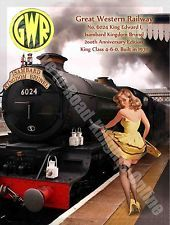 King Edward I, 6024 Steam Train, GWR, Railway, Pin Up Girl, Small Metal/Tin Sign