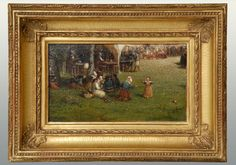 Antique American oil on board of a picnic by Samuel Colman (1832-1920) of New York. The scene shows a figure eating and drinking at a picnic, signed in the lower left corner, circa 1870. Colman traveled to France with L.C. Tiffany where he painted this picture. Colman started Tiffany Studios with L.C. Tiffany.