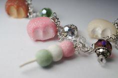 Mochi Bracelet, Miniature Food Jewelry, Polymer Clay Food Bracelet, Japanese Food Charm Bracelet, by Sweetnsavorytrinkets on Etsy https://www.etsy.com/listing/115723542/mochi-bracelet-miniature-food-jewelry