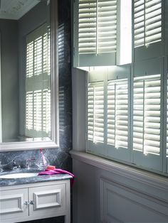 shutters for wide window Bathroom Window Treatments, Bathroom Windows, Window Dressings, Beautiful Bathrooms, Shutters, Small Bathroom, Blinds, Shades Window, Curtains