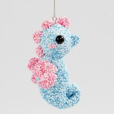 A Sea Horse hanging Decoration made from a Polystyrene Ball covered with Foam Clay - Creative ideas Diy Clay, Clay Crafts, Summer Crafts, Crochet Earrings, Creations, Lily, Make It Yourself, Diy Suspension, Christmas Ornaments