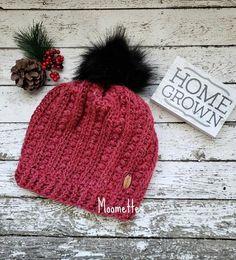 Ready to Ship - Handmade Chunky Women s Hat - Pom Pom Beanie - Women s  Slouchy Pom Pom Hat - Brick Copper Rust - Nordic Fur Wood Button 4e31b5d049e6