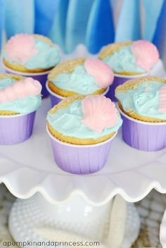 The Little Mermaid Party Ideas - easy party decorations, crafts, and food ideas. Little Mermaid Decorations, Easy Party Decorations, Birthday Party Decorations, Little Mermaid Birthday, Little Mermaid Parties, The Little Mermaid, Beach Cupcakes, Baby Shower Cupcakes, Seashell Cupcakes