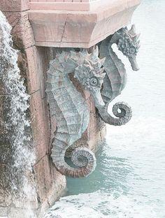 stone seahorse grotto entrance...