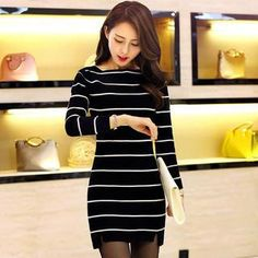 Buy 'Paradiso – Striped Knit Dress' with Free International Shipping at YesStyle.com. Browse and shop for thousands of Asian fashion items from China and more!