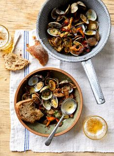 Clams and doughnuts: Ravinder Bhogal's recipes for cooking with beer | Food | The Guardian Cooking With Beer, Beer Food, Beer Recipes, Clams, Doughnuts, Paella, Seafood, Stuffed Mushrooms, Ethnic Recipes